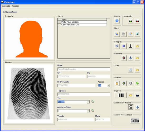 Software controle de acessos biometria automação multifuncional